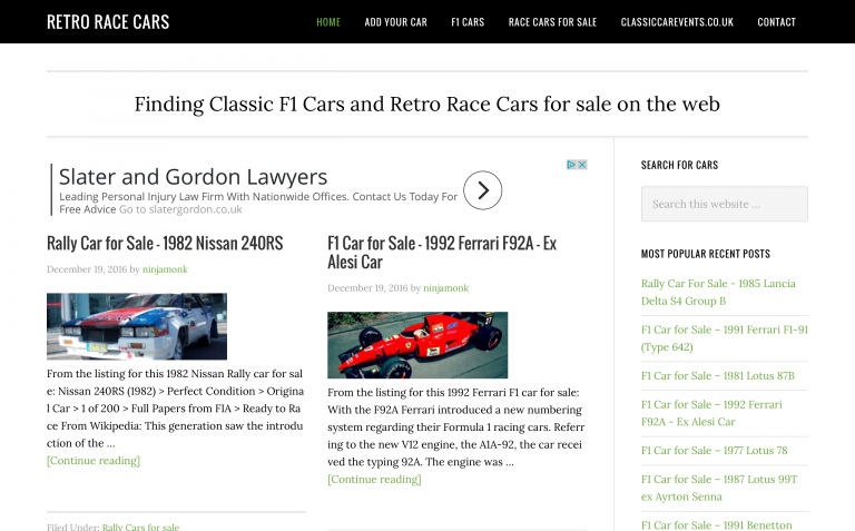 Retro Race Cars - Finding Classic F1 Cars and Retr